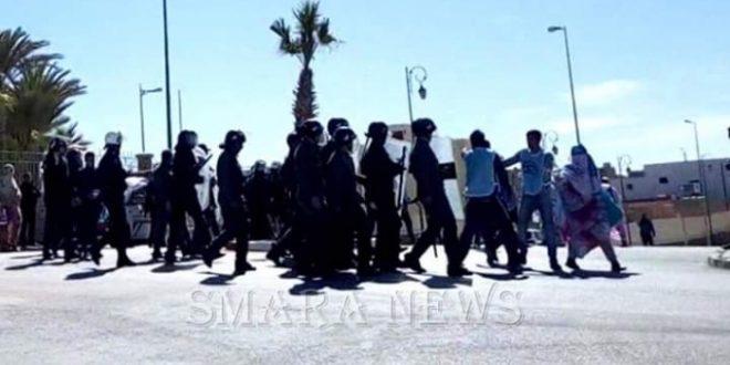 قوات الاحتلال المغربية تتدخل بعنف ضد متظاهرين بالمناطق المحتلة