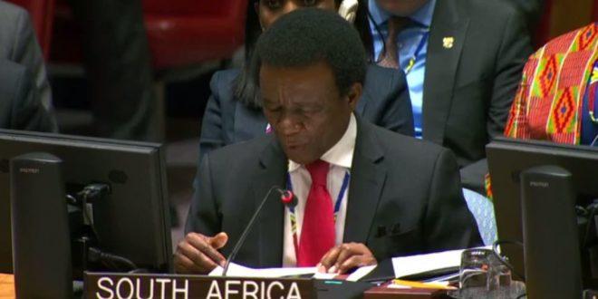 الممثل الدائم لجنوب أفريقيا لدى الأمم المتحدة، يلفت انتباه مجلس الامن الدولي الى الانتهاكات المغربية ضد المدنيين الصحراويين.