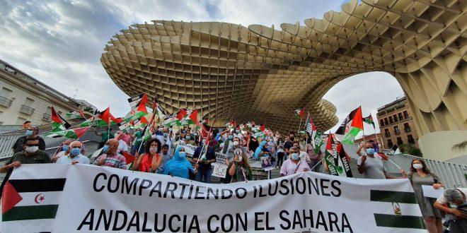 عاصمة إقليم الأندلس تشهد مظاهرة لحق الشعب الصحراوي في الاستقلال