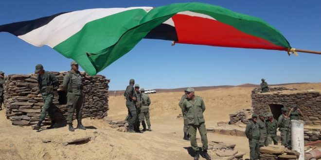 متظاهرون صحراويون يطالبون الأمم المتحدة بالوفاء بوعودها في تنظيم استفتاء تقرير مصير الشعب الصحراوي وإغلاق ثغرة الكركرات